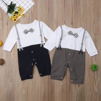 Newborn Baby Boys Outfits Sets Jumpsuit Romper Long Sleeve Bow Gentleman Cotton Clothes Baby Boy 0-18M