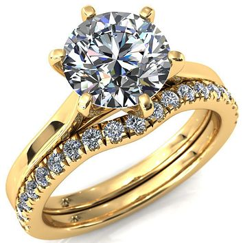 Darci Round Moissanite 6 Prong Cathedral Engagement Ring