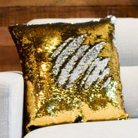 Silver & Dark Gold Sequin Mermaid Pillow