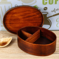 2016 Eco-friendly and Healthy Japanese  Style Natural Wood Bowl Brown Color Wooden Bento Box Lunch-box with Internal Separator