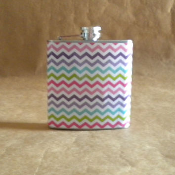 Multi-Colored Chevron Print 6 ounce Stainless Steel Girl Gift Flask KR2D 6419