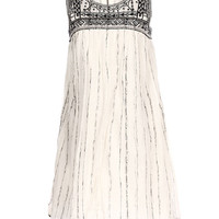 White Folk Pattern Cut Out Sleeveless A-Line Mini Dress