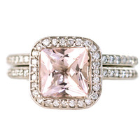 14K Morganite Engagement Ring & Wedding Band Princess Diamond Halo Morganite Ring Custom Bridal Jewelry