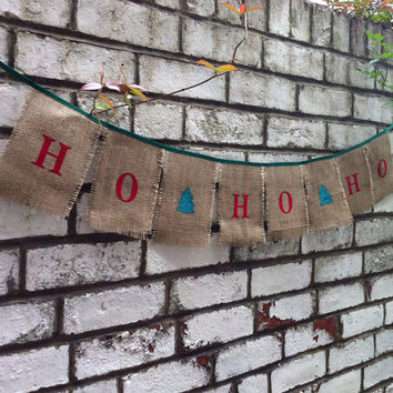 Ho Ho Ho Christmas banner in burlap and satin, ideal rustic decoration hessian