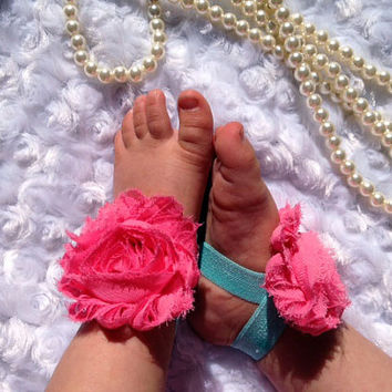 Coral and Aqua  Baby Barefoot Sandals - Baby Girl Shoes - Infant Shoes - Flower Shoes - Photo Props - Baby Shower Gift - Baby Sandals