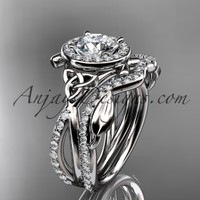 "platinum celtic trinity knot engagement set, wedding ring with a ""Forever Brilliant"" Moissanite center stone CT789S"