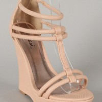 Qupid Bikini-271 Snake Strappy Open Toe Wedge