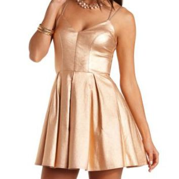 Strappy Glitter Skater Dress by Charlotte Russe - Rose Gold Metallic
