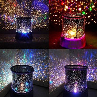 Crystal Romatic Gift Cosmos Star Sky Master Projector Starry Night Light Lamp (Color: Black)