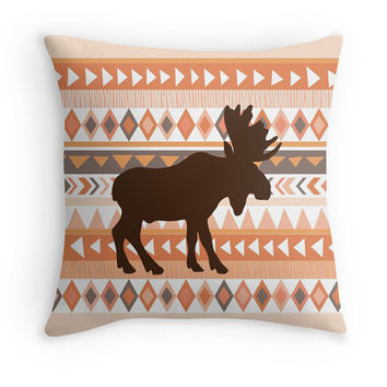 Moose Tribal Pillow Cover, 16x16, 18x18, 20x20, Earthy Decor, Rustic, Ethnic, Coral, Brown