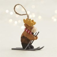 Carved Moose Skiing Ornament