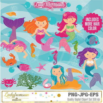 Little Mermaids, Cute Digital Clipart, Mermaid Clip art, Mermaid Graphics, Cute Mermaid images, Under the Sea Commercial-Personal Use