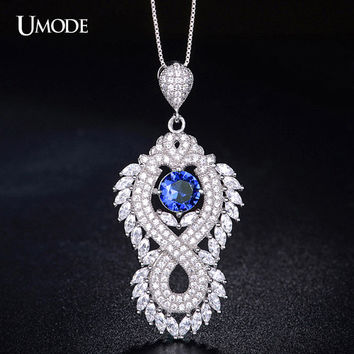 UMODE Cubic Zirconia Pave Blue Stone Tassel of Crown Genuine 925 Sterling Silver Pendant Necklace YN0018B