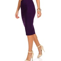 Sale-purple Basic Pencil Skirt