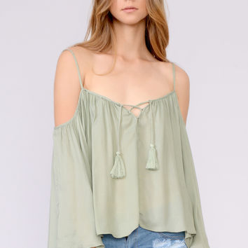 Open Shoulder Flowy Blouse