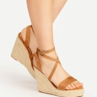 Cross Strap Womens Wedges