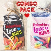 Combo Pack Download Printable Valentine candy gift DIY mason jar for gummi worms, beetle toys, spider, candy classroom valentine funny