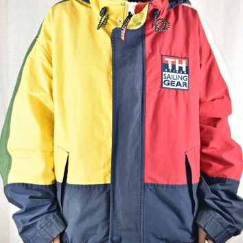 7c8c94c2 90s Tommy Hilfiger Color Block Sailing Jacket Large Rare Vtg Vin