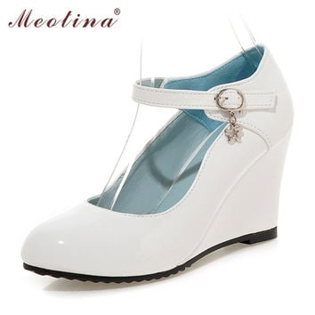 Meotina Shoes Women White Wedding Shoes Patent Leather Wedge Heels Round Toe High Heels Mary Jane Shoes Pink Black Small Size 39