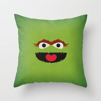 Sesame Street Vintage Nursery Art Oscar the Grouch Retro Style Minimalist Poster Print Throw Pillow by The Retro Inc