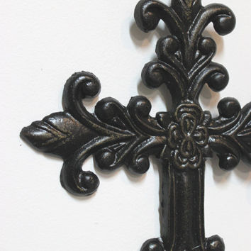 Cross Wall Hanging, Fleur de lis Wall Decor, Cast Iron