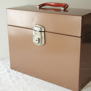 Porta File Brown Metal File Box  Hamilton Skotch Vintage Office