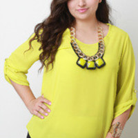 Women's Lime Chiffon Necklace Top in Plus Sizes