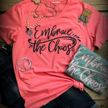 Embrace the Chaos Tee - Coral