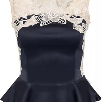 Navy Blue Sleeveless Lace Detailed Peplum Top