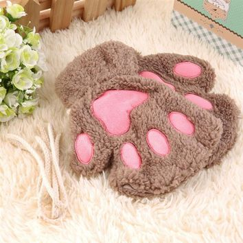 Cute Winter Women Gloves Cute Fluffy Bear Plush Paw Glove Girl Novelty Soft Half Covered Mittens Gloves Ht Kawaii Simple Style
