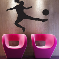 Vinyl Wall Decal Sticker Female Soccer Player #1533