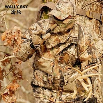 4PCS Water Resistant Bionic Camouflage Military Suit Silencer Breathable Bow Hunting Ghillie Suit Jacket Pants Hat Mask Woodland