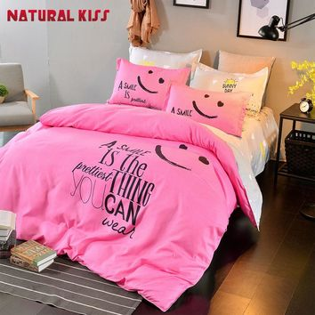 Fashion Smiling face Emoji style Bedding Set Home Duvet Cover set Bed Sheet Pillowcase Cotton Bedlinen Twin Full Queen size