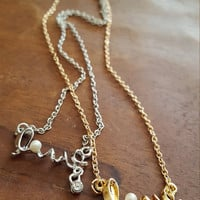 Dainty jewelry Cute Love word gold plated necklace White bead/ Pearl Rhinestone Dainty Necklace Jewelry Gift