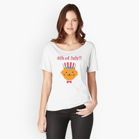 '4th of July American Kitty Cat' Women's Relaxed Fit T-Shirt by JevLavigne