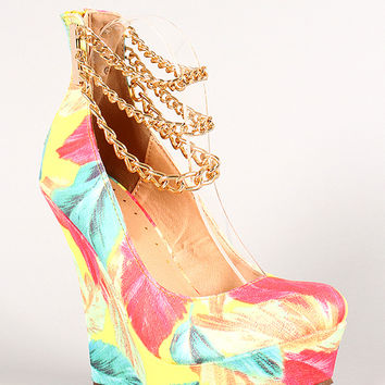 Liliana Honfleur-92 Multicolor Ankle Chain Platform Wedge