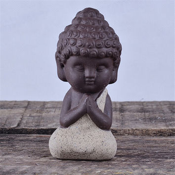 1Pcs Small Buddha Statue Monk Figurine India Mandala Tea Ceramic Crafts Home Decorative Ornaments Miniatures