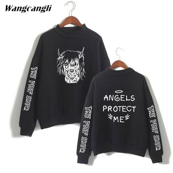 wangcangli 2019 Lil Peep hoodie sweatshirt outside fashion black cotton tops O-neck for men high collar sweatshirt size xxs 4xl