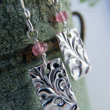 Fine Silver Earring Gemstone Earring  Pink Tourmaline Dangle Earring Metal Clay Jewelry PMC Jewelry Swirl Texture Classic Jewelry