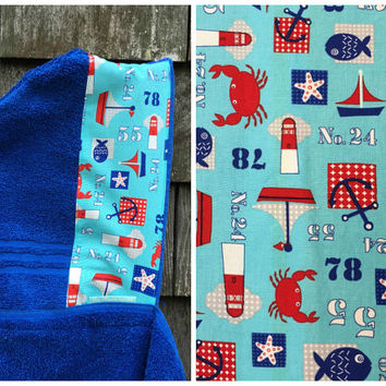 Boys Personalized Hooded Towel Blue Nautical Boat s Crabd Pool Bath Beach Towel Kids Children Toddler Birthday Christmas Hanukkah Gift