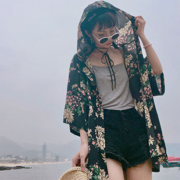 Women Harajuku Floral Kimono Open Cardigan Shrug Hoded Tops Blouse Tie Lace Up Sun Screen Batwing Sleeve Loose Baggy Holiday