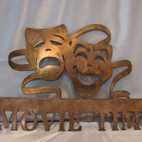 Movie Time Home Theater 16 Gauge Metal Copper Patina Wall Art
