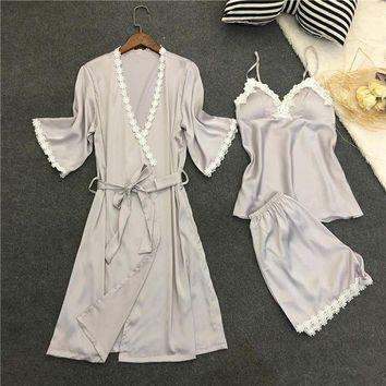 DCCKU62 LISACMVPNEL Rayon Silk Women Pajamas Set 3PCS Sleepwear Sexy Women Robe Set Soft Nightwear