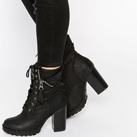Call It Spring Yunia Black Grunge Sole Heeled Boots
