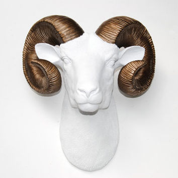 White Ram Head Wall Mount with Bronze Horns - Faux Bighorn Sheep Wall Hanging - Faux Taxidermy Ram Sheep Head with Large Horns R0109