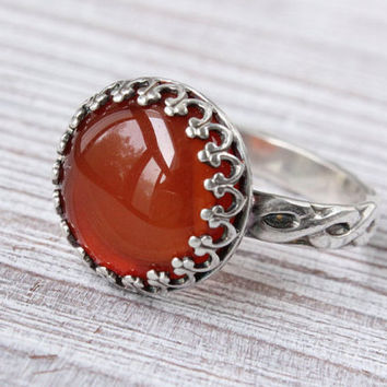 Red agate ring, sterling silver, large cabochon gemstone, orange red ring, floral band, bezel set, vintage style, handmade
