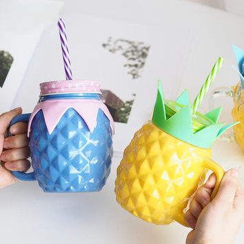 Pineapple Modeling Glass Mason Jar Cups Cute Cup Milk Beer Mug Cover with Hole and Straw Eco-Friendly Beverage Bottle