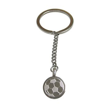Silver Toned Etched Round Soccer Ball Pendant Keychain