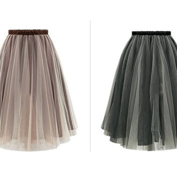 Womens Lace Princess Fairy Style Tulle Skirt Bouffant Puffy Fashion Skirt Long Skirts = 1929729732