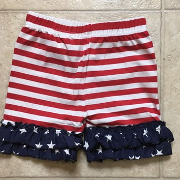 Red White Stripe Star Ruffled Toddler Girls July 4th Shorts